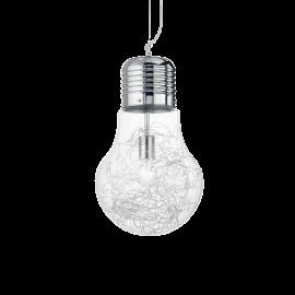 Suspension Luce Ideal Lux verre transparent avec décoration intérieure en fil d'aluminium, monture chrome 1XE27 D30, pour vos in