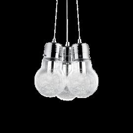 Suspension Luce Ideal Lux verre transparent avec décoration intérieure en fil d'aluminium, monture chrome 3XE27 D32, pour vos in