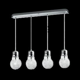 Suspension Luce Ideal Lux verre transparent avec décoration intérieure en fil d'aluminium, monture chrome 4XE27 L90, pour vos in