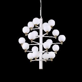 Lustre Copernico Ideal Lux en metal verni blanc avec détails en laiton, diffuseurs en verres soufflé, dépoli,20xG9 idéal pour vo