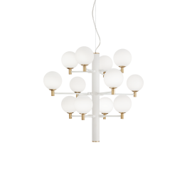 Lustre Copernico Ideal Lux en metal verni blanc avec détails en laiton, diffuseurs en verres soufflé, dépoli,12xG9 idéal pour vo