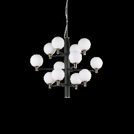 Lustre Copernico Ideal Lux en metal noir mat avec détails en laiton, diffuseurs en verres soufflé, dépoli,12xG9 idéal pour vo