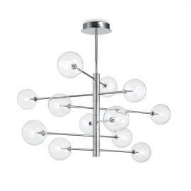 Lustre Equinoxe Ideal Lux en métal finition chrome diffuseurs en verre soufflé transparent, idéal pour les espaces à grands volu