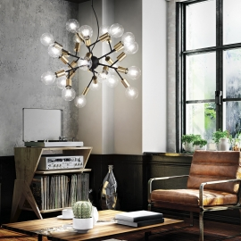Lustre Kepler Ideal Lux en metal verni noir mat, diffuseurs en verre soufflé ambré transparent 12xE27, il occupera magnifiquemen