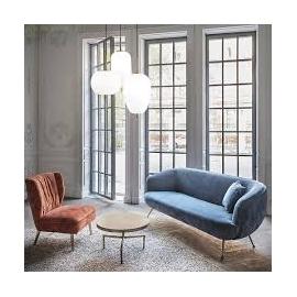 Suspension Umlle Ideal Lux pavilion, éléments décoratifs en métal or mat, diffuseurs en verre soufflé blanc, 50w 3160 lumens 300