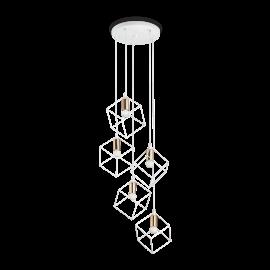 Suspension Ice Ideal Lux en métal verni blanc et laiton mat 5xE27