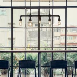 Suspension Plumber Ideal Lux en métal noir mat 5xE27, idéale pour vos intérieurs style vintage