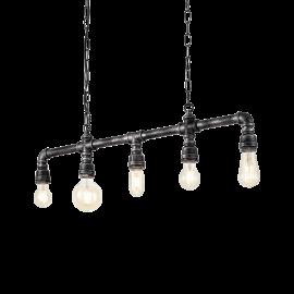 Suspension Plumber Ideal Lux en métal noir vieilli 5xE27, idéale pour vos intérieurs style vintage