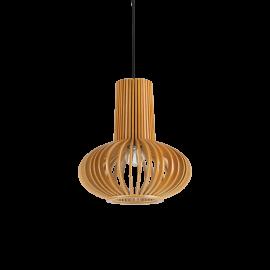 Suspension Citrus Ideal Lux en bois naturel, câble en tissu noir 1xE27, pour vos intérieurs modernes, épurés