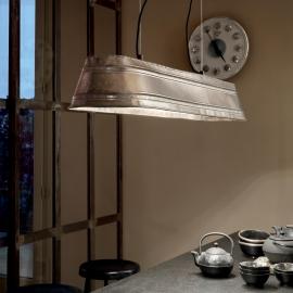 Suspension Saloon Ideal Lux en métal nickel 4xE27 idéale pour vos intérieurs vintages