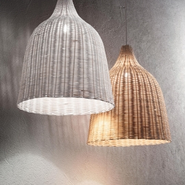 Suspension Amaca Ideal Lux pavillon en métal vernis blanc, câble enroulé-at ficelle, abat jour tissu naturel lavable 1xE27, lég