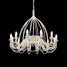 Lustre Corte Ideal Lux métal modelé artisanalement, finition blanc antique 12xE14, intemporel il conviendra à tous types d'inté