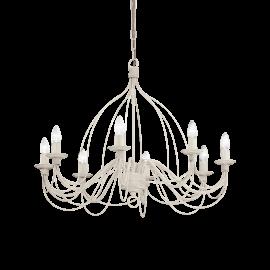 Lustre Corte Ideal Lux métal modelé artisanalement, finition blanc antique 8xE14, intemporel il conviendra à tous types d'intér