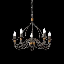 Lustre Corte Ideal Lux métal modelé artisanalement, finition rouille antique 5xE14, intemporel il conviendra à tous types d'int