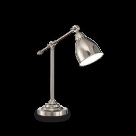 Lampe Newton Ideal Lux métal nickel satiné intérieur émaillé blanc 1xE27, sur un bureau, en chevet elle trouvera facilement sa p