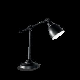 Lampe Newton Ideal Lux métal noir intérieur émaillé blanc 1xE27, sur un bureau, en chevet elle trouvera facilement sa place