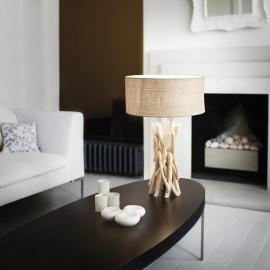 Lampe Driftwood Ideal Lux en branches de bois naturel, abat jour PVC recouvert de tissu Canvas 1XE27