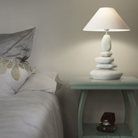 Lampe Dolimiti Ideal Lux en céramique émaillée, abat jour tissu aspect lin beige 1xE27