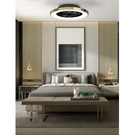 Plafonnier ventilateur led blanc Tibet Mantra Diam 65 70w 3900 lumens de 2700k a 5000k livre avec télécommande, compatible googl