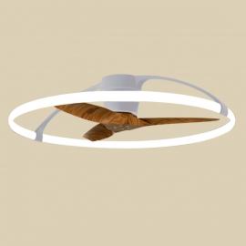 Plafonnier ventilateur Nepal led imitation noyer Mantra Diam 105 77w 7200 lumens de 2700k a 5000k livre avec télécommande, compa