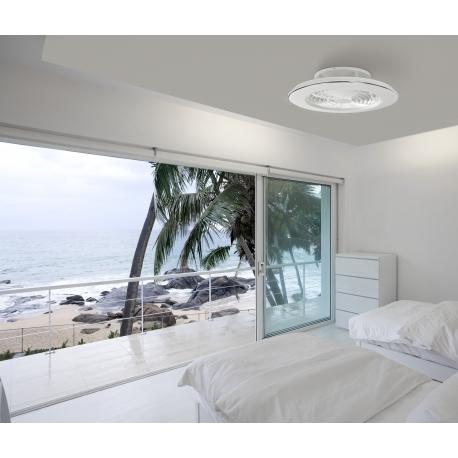 Plafonnier ventilateur led Alisio Mantra blanc Diam 63 H16 70w 4900 lumens de 2700k a 5000k livre avec télécommande