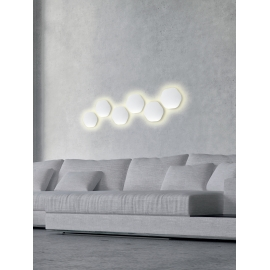 applique led epistar hexagonale bora bora mantra blanc mat