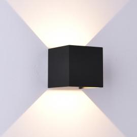 Applique led Davos aluminium noir sablé 12w 3000k 1100 lumens angle d`eclairage réglable avec volets IP54