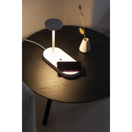 Lampe touch Ceres Led 3 variations, avec chargeur induction Mantra aluminium blanc 6w 450 lumens 3000k