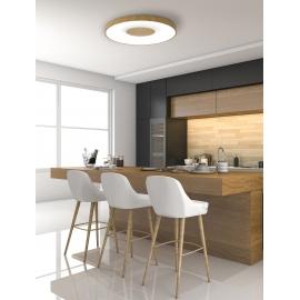 Plafonnier led variable Coin Mantra métal imitation bois et acrylique, 100W 6000 lumens 2700K-5000K D65