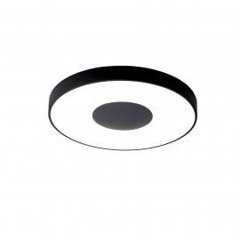 Plafonnier led variable Coin Mantra métal noir et acrylique, 80W 3900 lumens 2700K-5000K livré avec télécommande D50