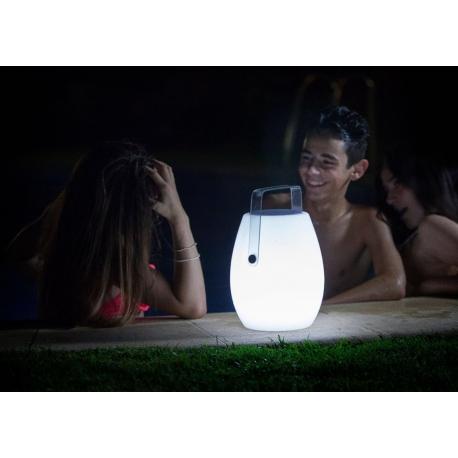 Lampe portable Barrel bluetooth Mantra 3w led RGB avec haut parleur 10w en métacrylate blanc