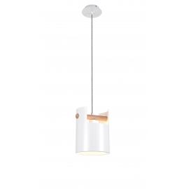 Suspension Cube Mantra métal blanc, bois clair