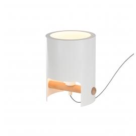 lampe Cube Mantra métal blanc, bois clair