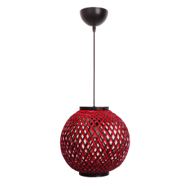 Suspension Ball Light and Dzign bambou tressé rouge et noir 23w E27