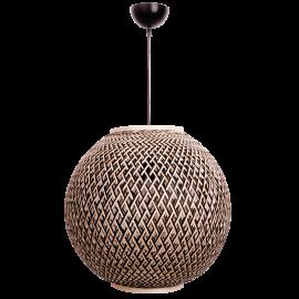 Suspension Ball Light and Dzign bambou tressé naturel et noir 23w E27