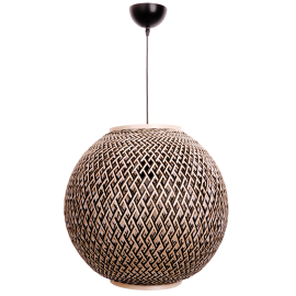 Suspension Ball Light and Dzign bambou tressé naturel et noir 23w E27