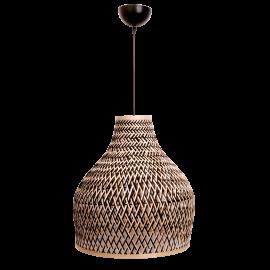 Suspension Bell Light and Dzign bambou tressé naturel et noir 23w E27