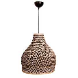 Suspension Bell Light and Dzign bambou tressé naturel et noir 23w E27