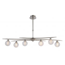suspension Snow Light and Dzign métal nickel satiné 6x40w G9